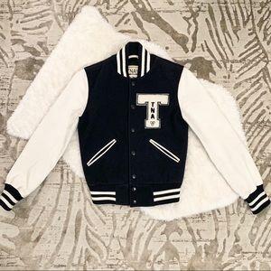 TNA Aritzia Varsity Letterman Jacket Real Leather